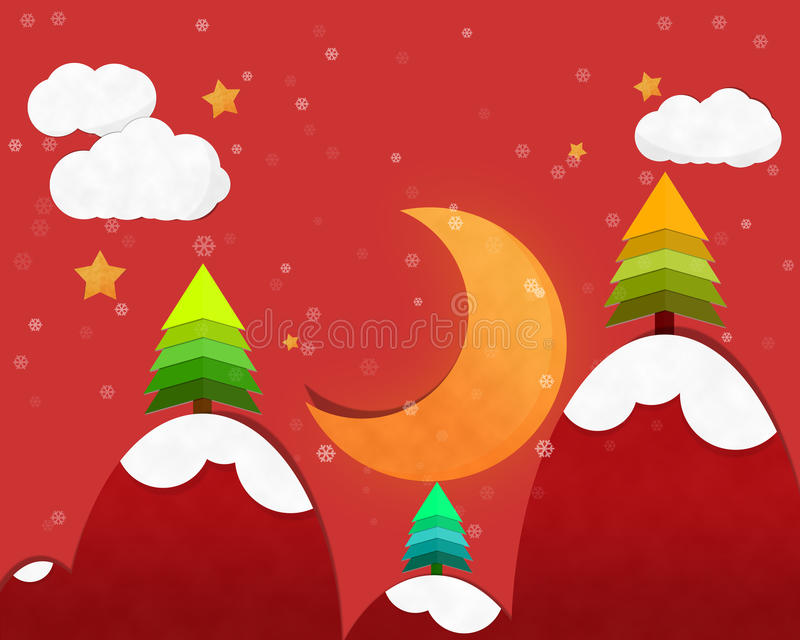 Crescent Moon in Chrismas-Nacht stock illustratie