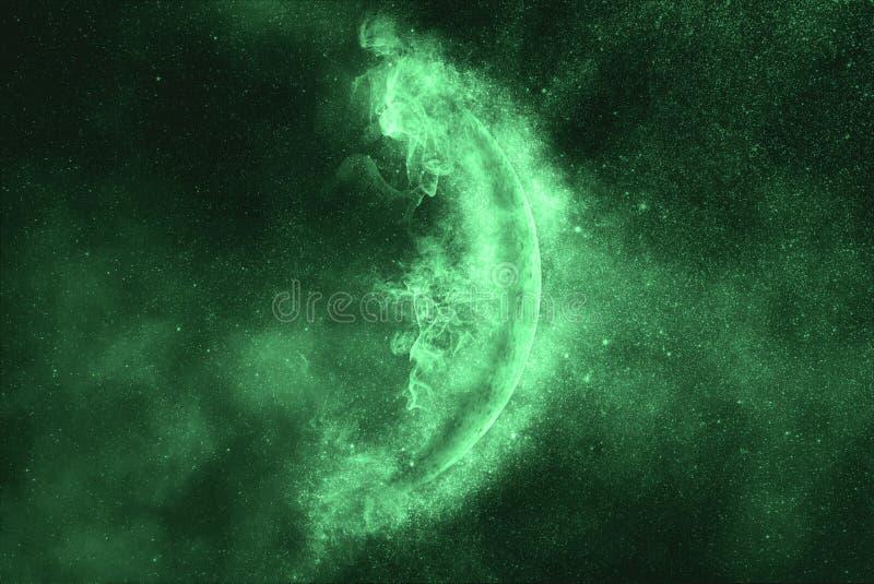 Crescent Moon en cielo de la estrella de la noche Símbolo verde stock de ilustración