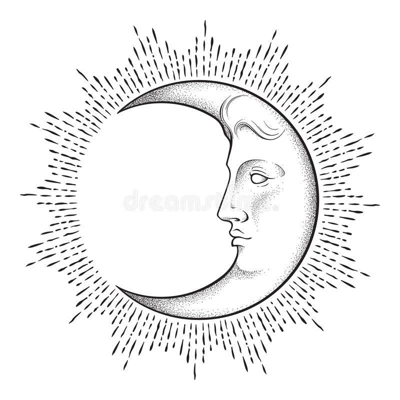 Crescent moon with face in antique style hand drawn line art and dotwork. Boho chic tattoo, poster, altar veil, tapestry or fabric royalty free illustration
