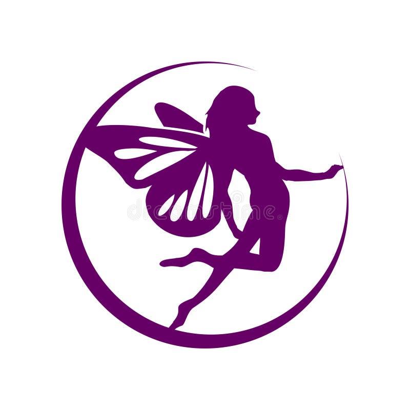 Crescent Moon Flying Fairy Symbol-Ontwerp royalty-vrije illustratie