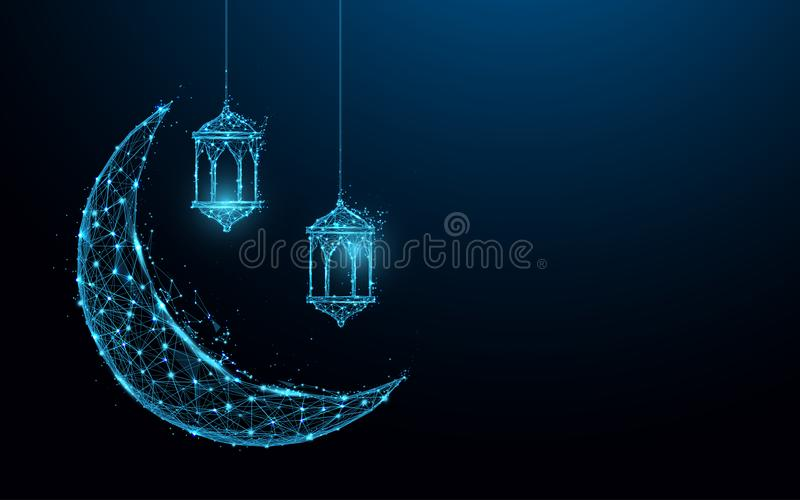 Crescent moon with hanging lamps Islamic Festival concept form lines and triangles, point connecting network on blue background. Illustration vector stock illustration