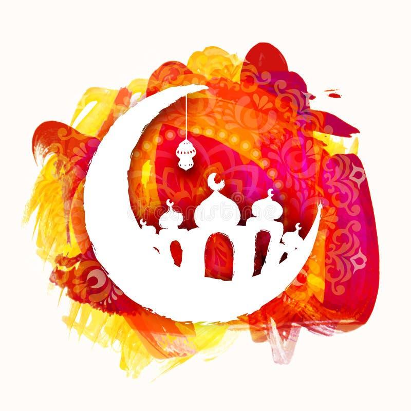 Crescent Moon med moskén för islamisk festival royaltyfri illustrationer