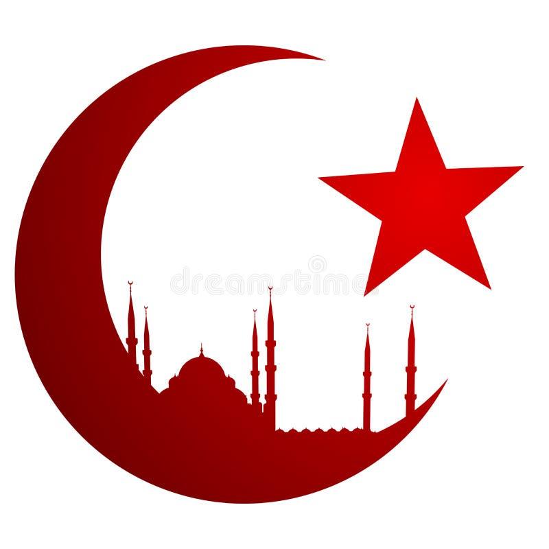 Crescent Moon met Moskee royalty-vrije illustratie