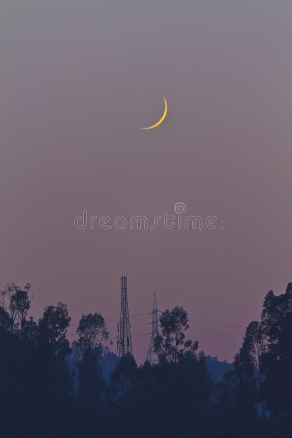Crescent Moon during Night royalty free stock images