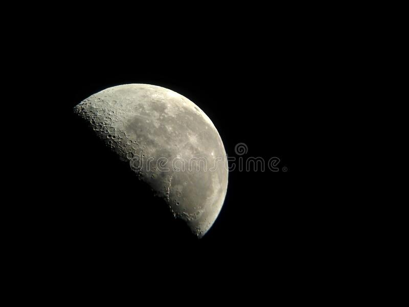 Crescent moon in the night sky, astrophotography. Astrophotography, half earth moon in the night sky stock photography