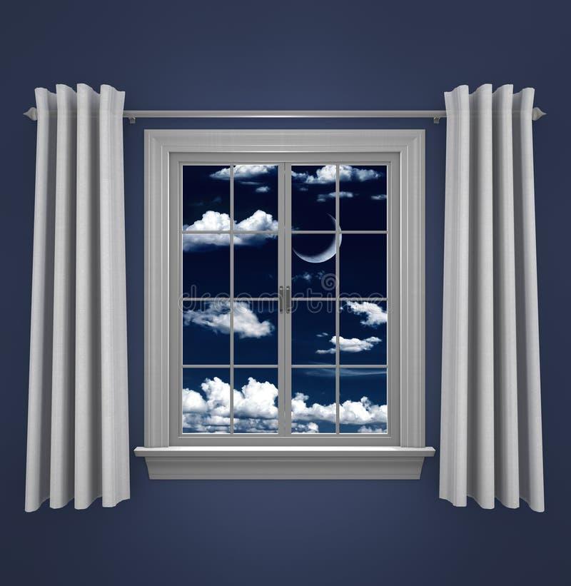Crescent moon in night sky shining through a bedroom window stock illustration