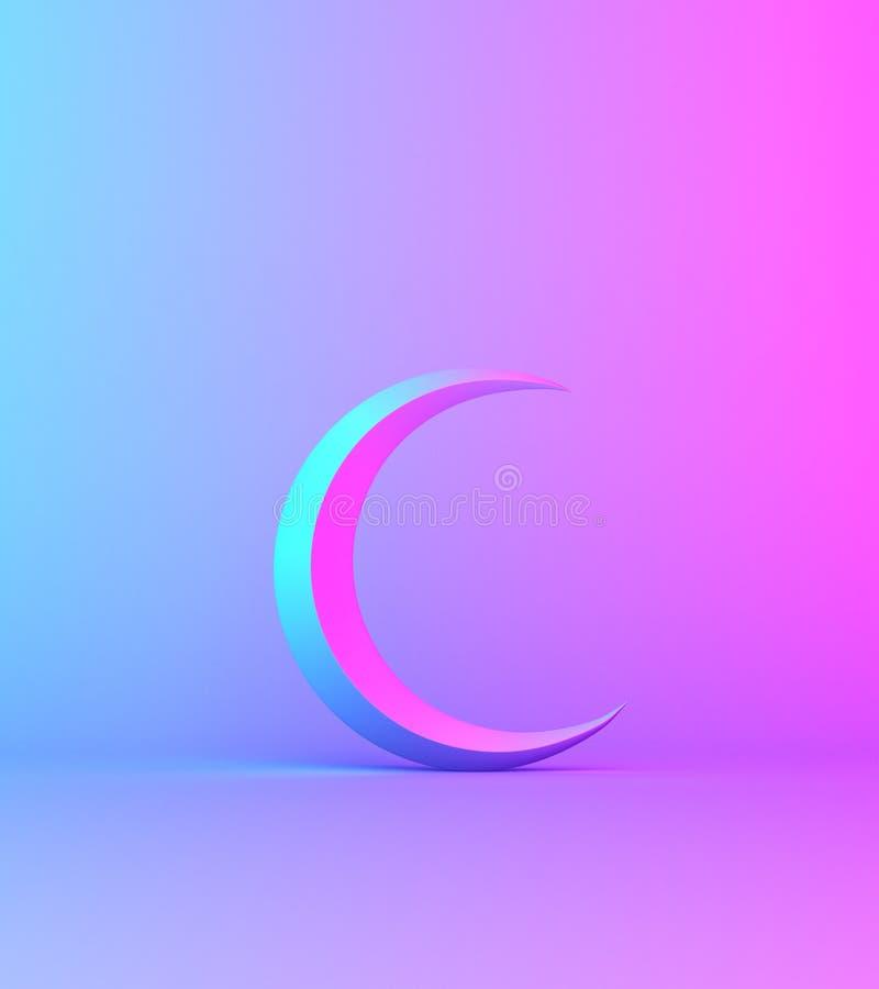 Crescent moon on pink blue gradient background studio lighting. Copy space text, design creative concept for islamic celebration day ramadan kareem or eid al stock illustration
