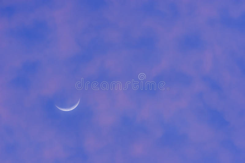 Crescent Moon In Purple Sky Stock Photography