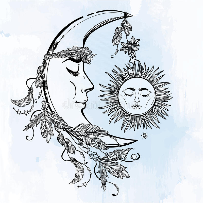 Half Crescent Moon With Face Tattoo: Crescent Moon And Sleeping Sun. Vector. Stock Vector