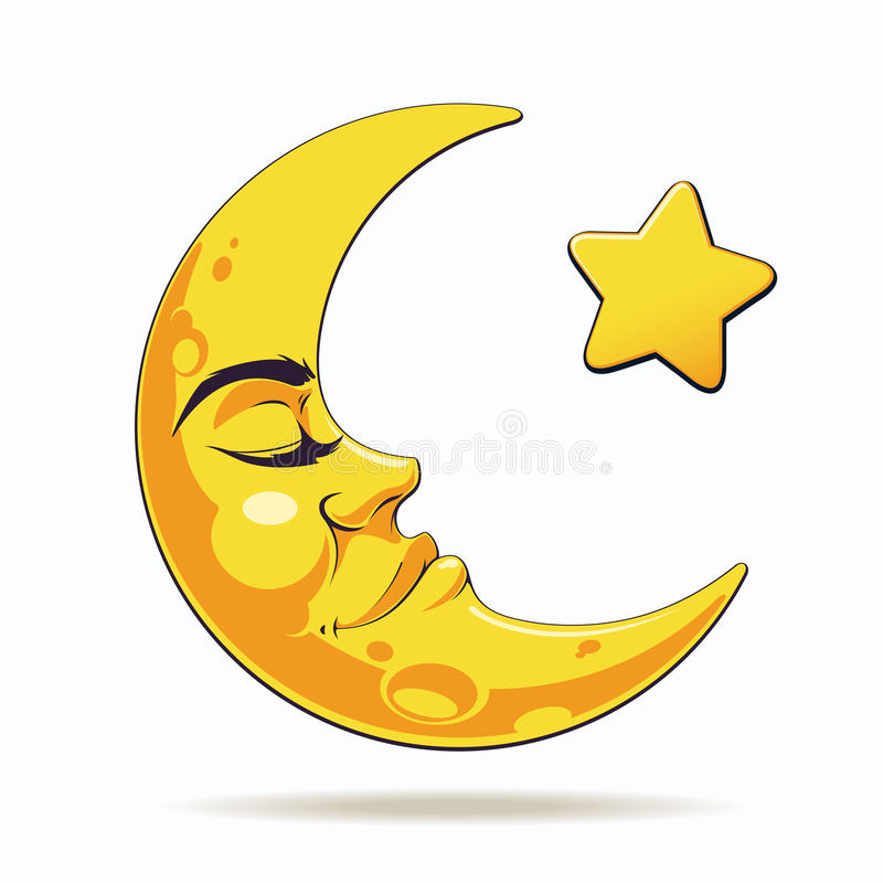 Crescent moon. Sleepy crescent moon with star vector illustration