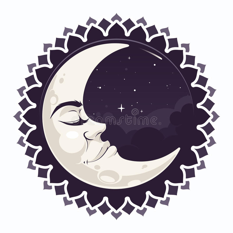Crescent moon. Sleepy crescent moon in night sky with clouds and stars stock illustration