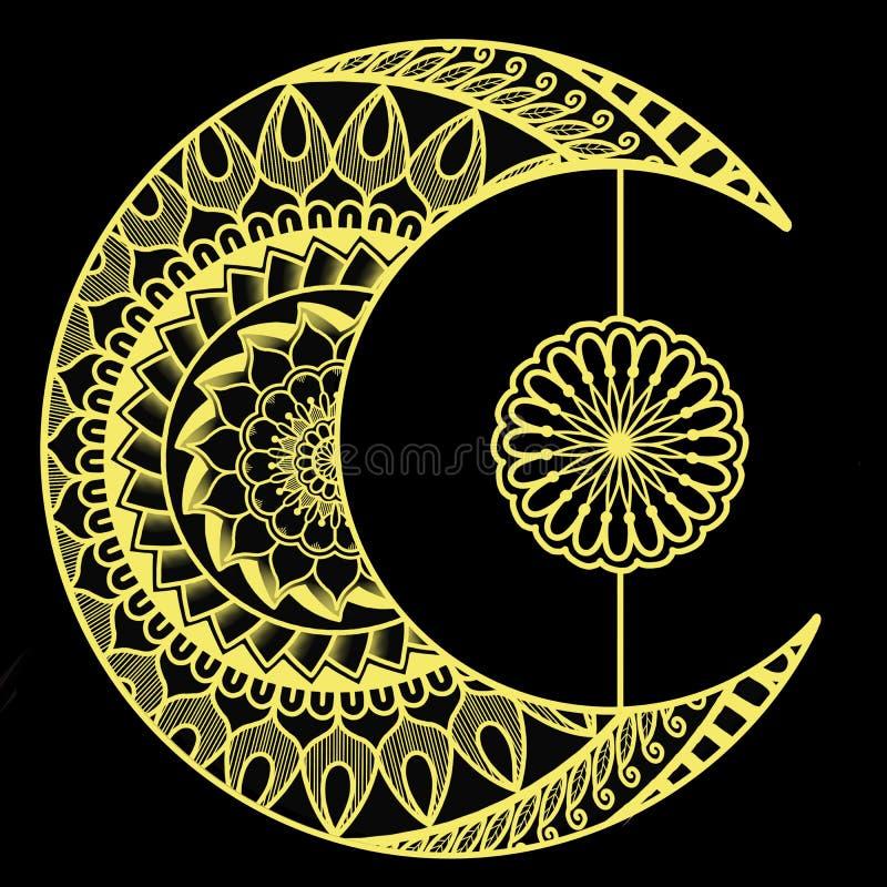 Crescent Moon with Yellow Mandalas stock illustration