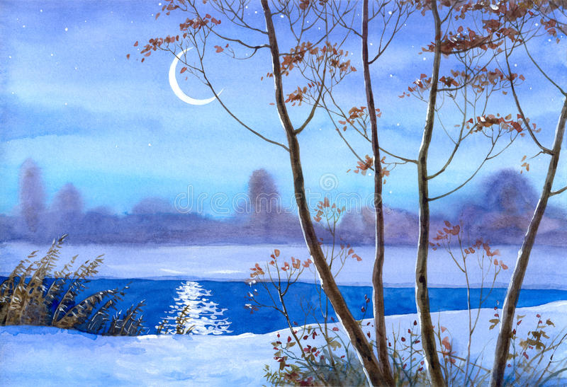 Download Crescent Over The Winter River Stock Illustration - Image: 14852394