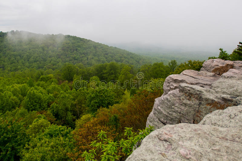 Crescent Rock on the Appalachian Trail. Looking Over Shenandoah stock photos