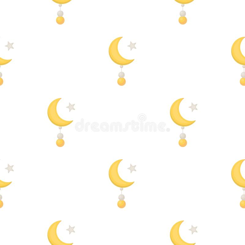 Crescent and Star icon in cartoon style on white background. Religion pattern stock vector illustration. vector illustration