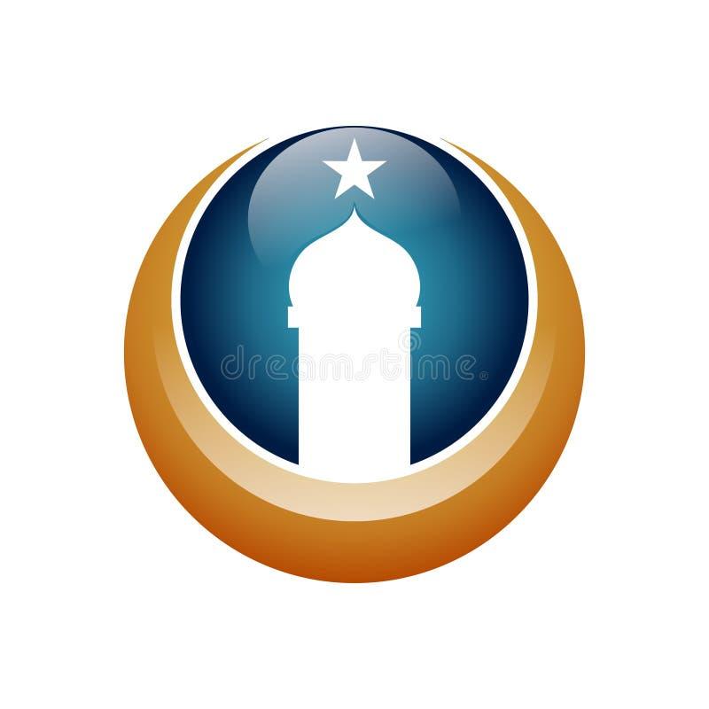 Crescent Star Mosque Tower Dome Logo Icon stock illustratie