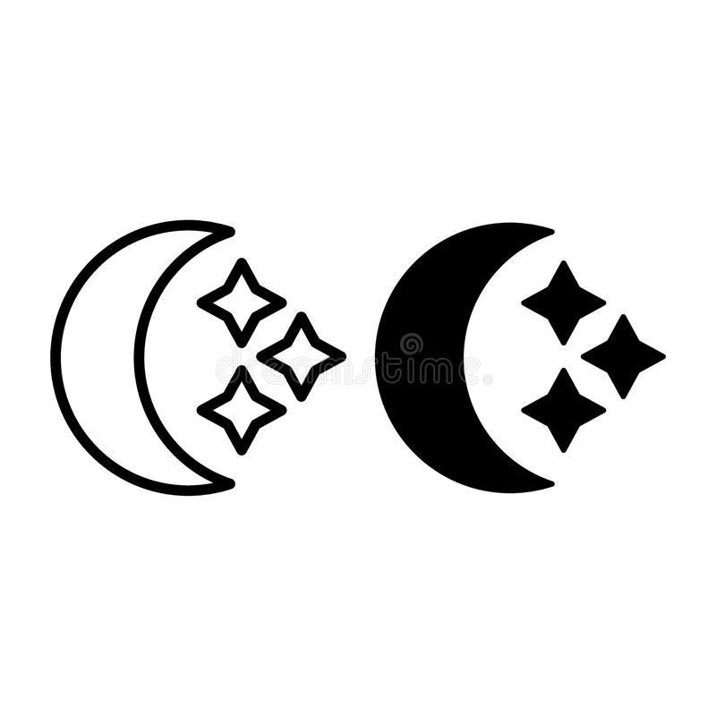 Crescent and stars line and glyph icon. Moon vector illustration isolated on white. Crescent outline style design vector illustration