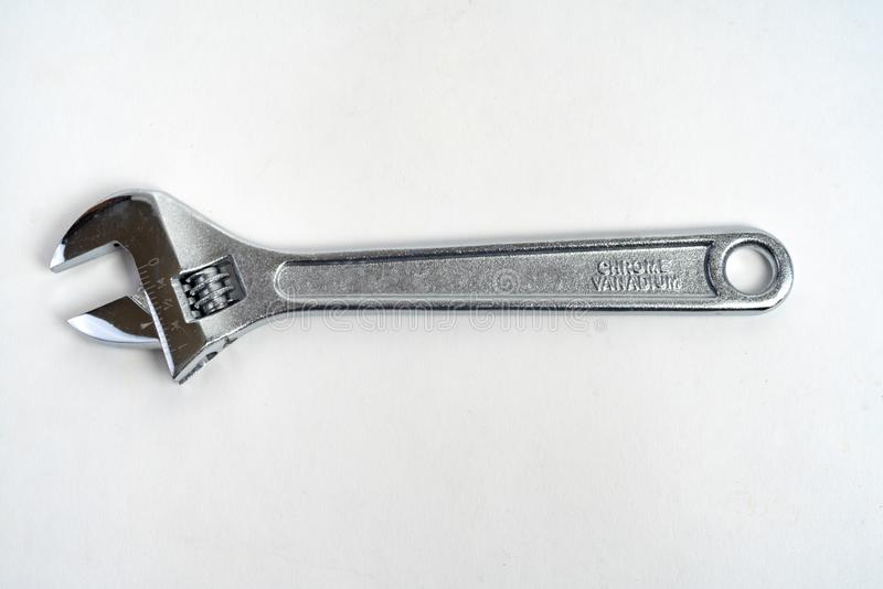 Crescent Wrench Isolated sur l'acier blanc de 8 pouces images libres de droits