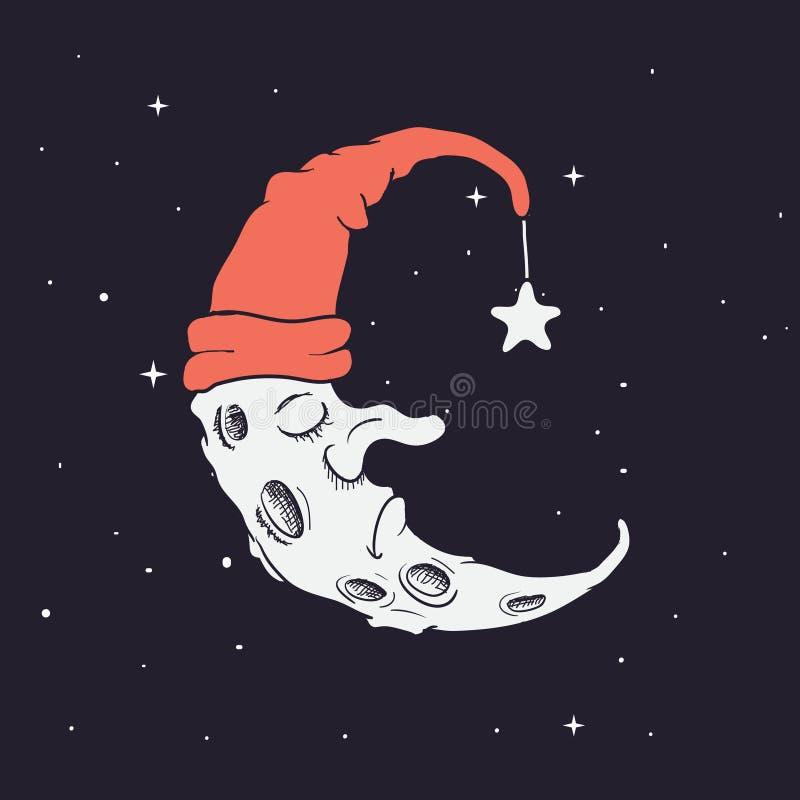 Crescente do sono no chapéu ilustração royalty free