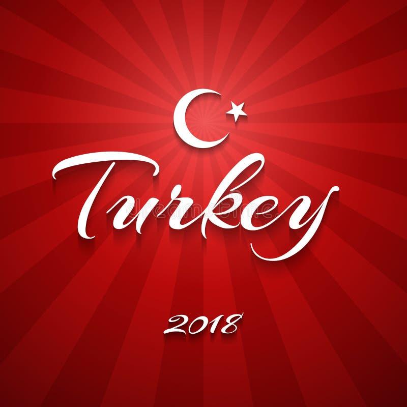 Crescente e estrela de Turquia da inscrição da bandeira de Turquia em um fundo de linhas vermelhas lisas bandeira de vetor abstra ilustração royalty free