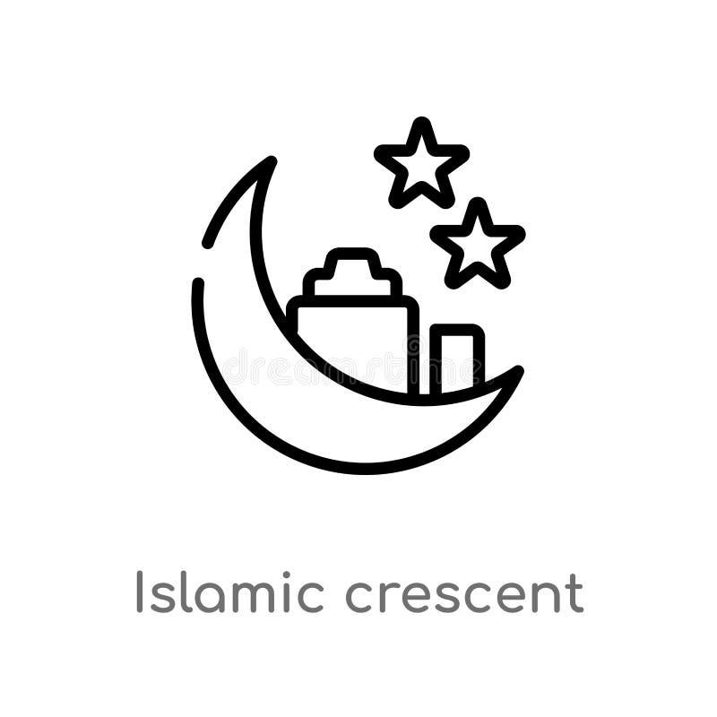 crescente islâmico do esboço com ícone pequeno do vetor da estrela linha simples preta isolada ilustração do elemento do conceito ilustração stock