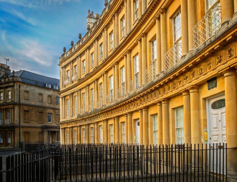 Crescente real, arquitetura Georgian, banho, Inglaterra imagens de stock royalty free