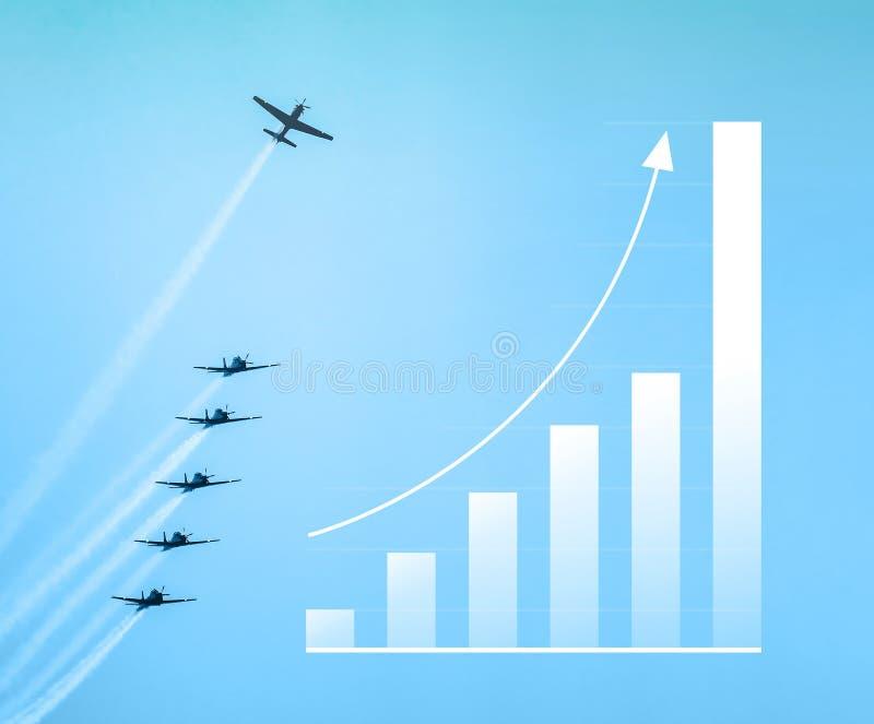 Crescer acima barra o gráfico, seta acima Aumente na sagacidade do gráfico das vendas ilustração royalty free