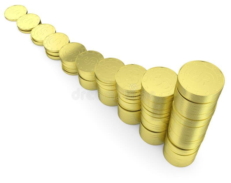Crescer dólares dourados inventa a opinião da diagonal da carta de barra ilustração stock