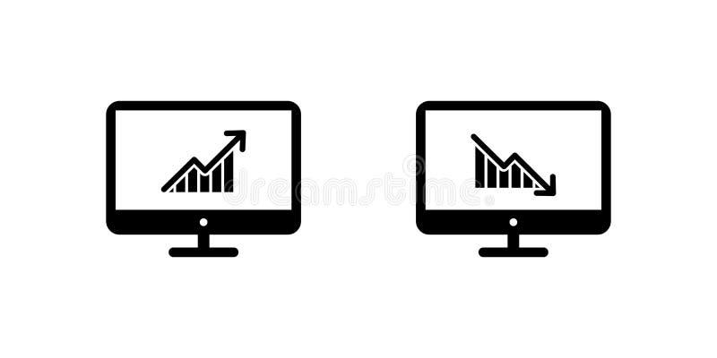 crescimento acima de e crescimento para baixo no monitor da tela Símbolo do vetor ilustração do vetor