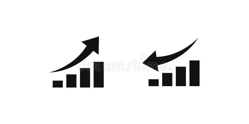 crescimento ascendente e crescimento para baixo Ilustração do vetor no fundo branco ilustração stock