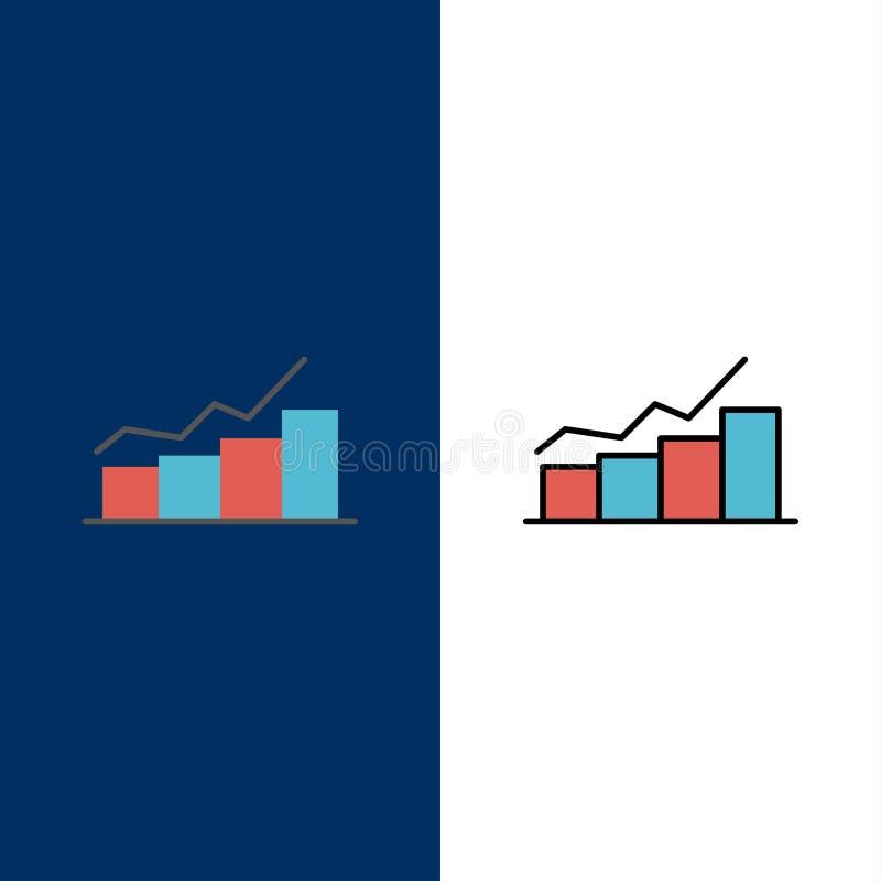 Crescimento, carta, fluxograma, gráfico, aumento, ícones do progresso O plano e a linha ícone enchido ajustaram o fundo azul do v ilustração do vetor