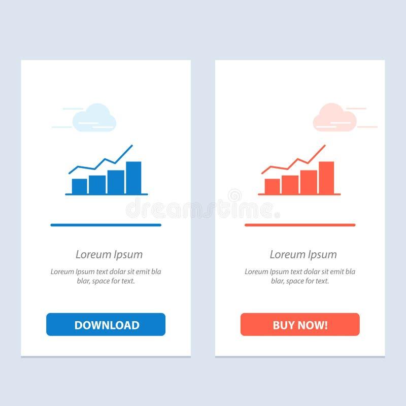 Crescimento, carta, fluxograma, gráfico, aumento, azul do progresso e transferência vermelha e para comprar agora o molde do cart ilustração stock