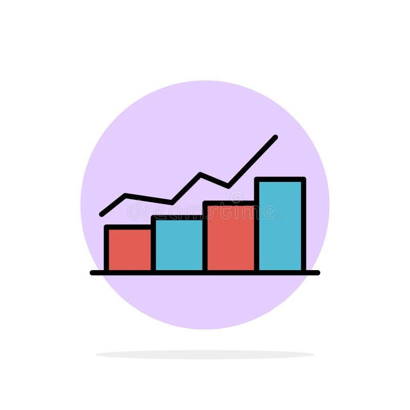 Crescimento, carta, fluxograma, gráfico, aumento, do fundo abstrato do círculo do progresso ícone liso da cor ilustração do vetor