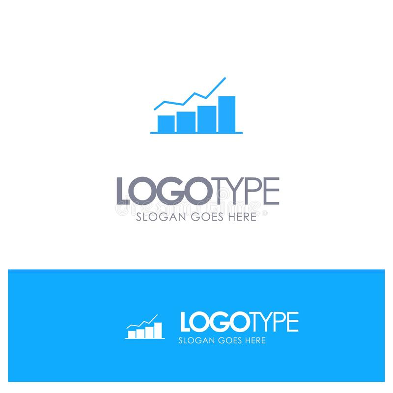 Crescimento, carta, fluxograma, gráfico, aumento, logotipo contínuo azul do progresso com lugar para o tagline ilustração do vetor