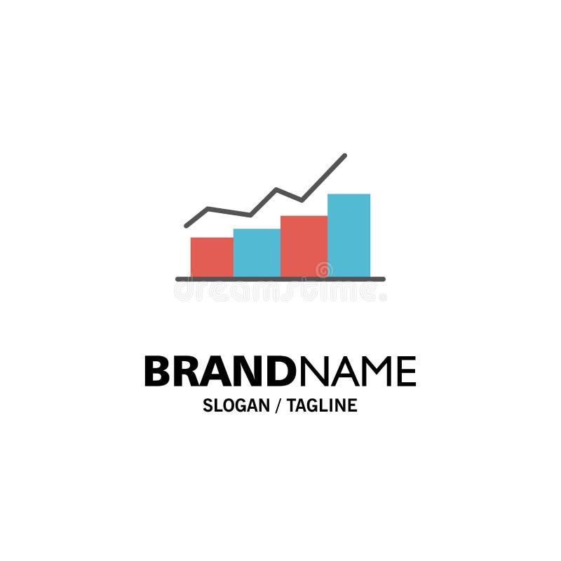 Crescimento, carta, fluxograma, gráfico, aumento, negócio Logo Template do progresso cor lisa ilustração stock