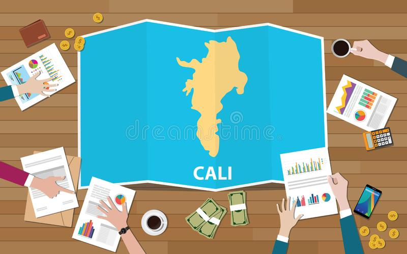 Crescimento da economia da região da cidade de Cali Colômbia com equipe para discutir na opinião dos mapas da dobra da parte supe ilustração royalty free