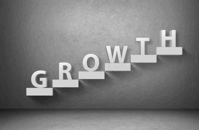 Crescimento da palavra na escadaria no fundo cinzento ilustração stock