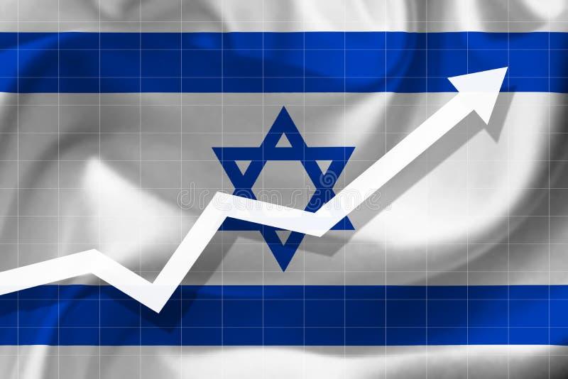 Crescimento da seta acima no fundo da bandeira do Israe imagens de stock