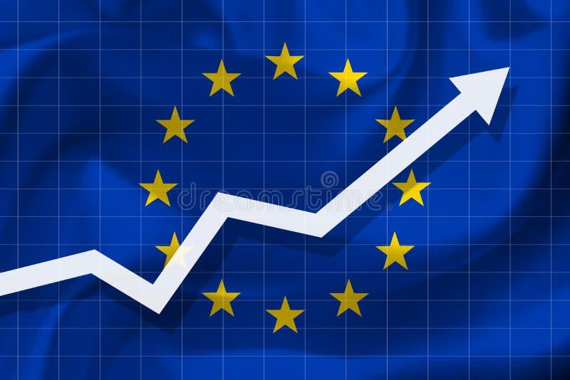 Crescimento da seta acima no fundo da bandeira da Europa ilustração royalty free