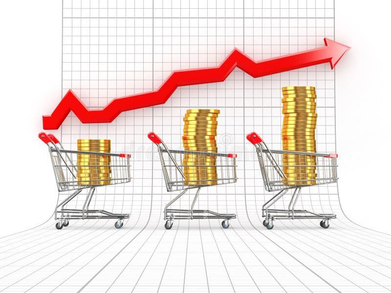 Crescimento das vendas. Cesta de compra com moedas ilustração stock