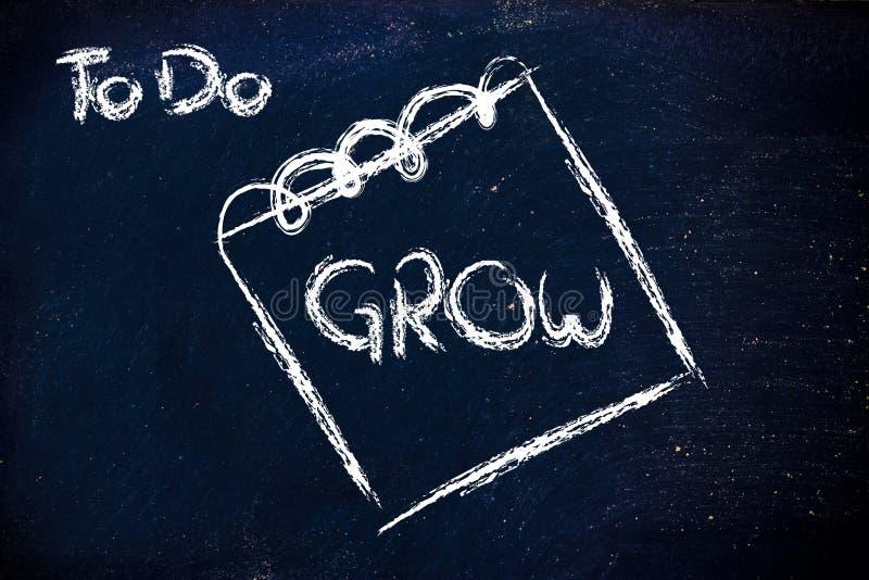 Crescimento de exigência do negócio, mensagem no memorando no quadro-negro fotos de stock royalty free