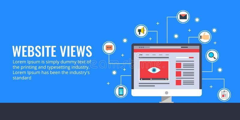 Crescimento de tráfego do Web site, opiniões da página, mercado em linha, promoção, conceito video da propaganda Ilustração lisa  ilustração stock