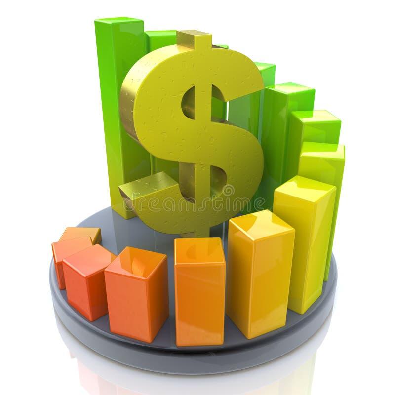 Crescimento do dólar da carta ilustração do vetor