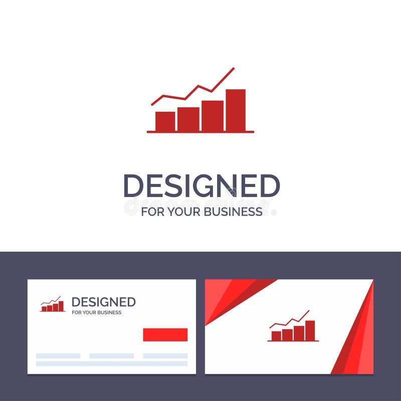 Crescimento do molde criativo do cartão e do logotipo, carta, fluxograma, gráfico, aumento, ilustração do vetor do progresso ilustração do vetor