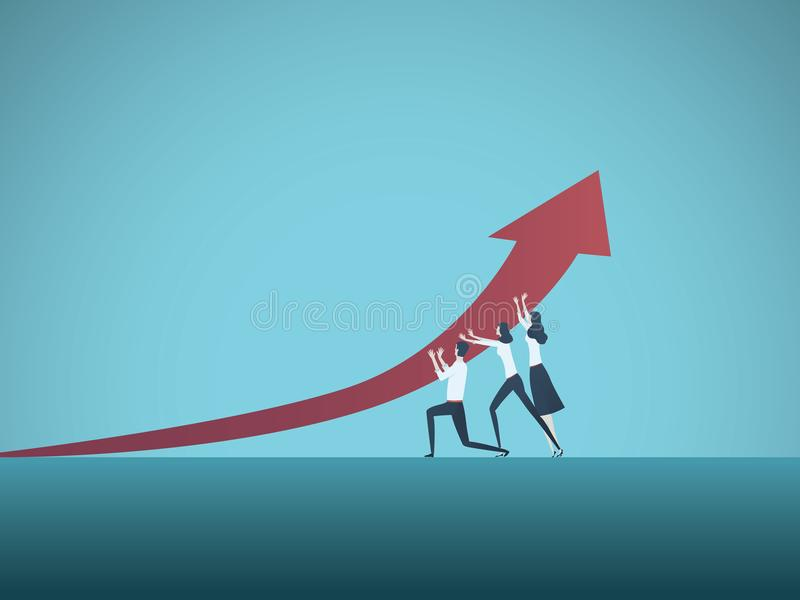Crescimento do negócio e conceito do vetor do sucesso Símbolo da liderança, visão, progresso, desafio ilustração royalty free