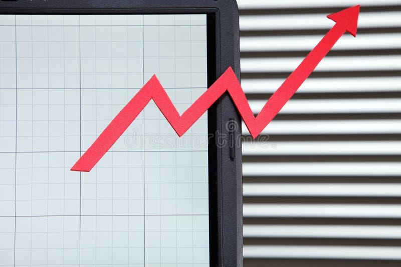 Crescimento do negócio em linha fotografia de stock