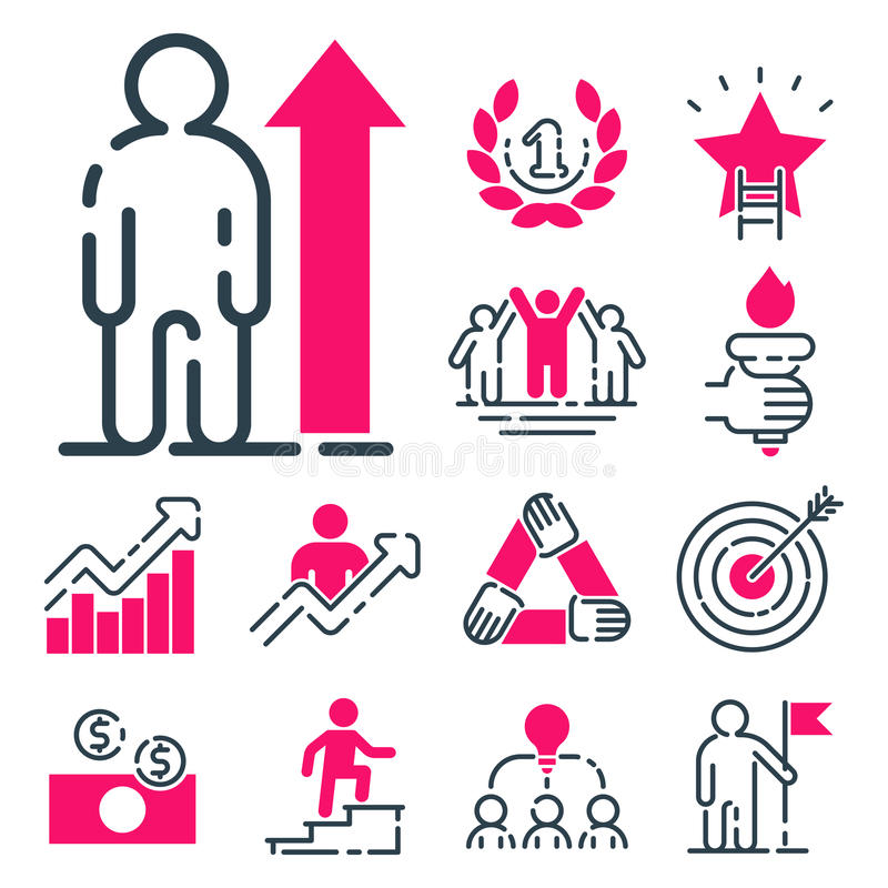 Crescimento dos trabalhos de equipa do projeto do desenvolvimento da estratégia empresarial do ícone do rosa da carta do conceito ilustração do vetor