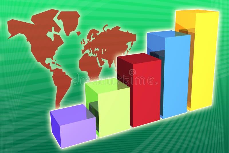 Crescimento e aumento da economia do mercado mundial ilustração royalty free