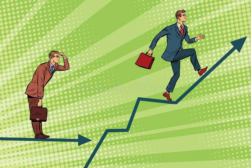 Crescimento e olhar da carta running dos homens de negócios para a frente ilustração royalty free