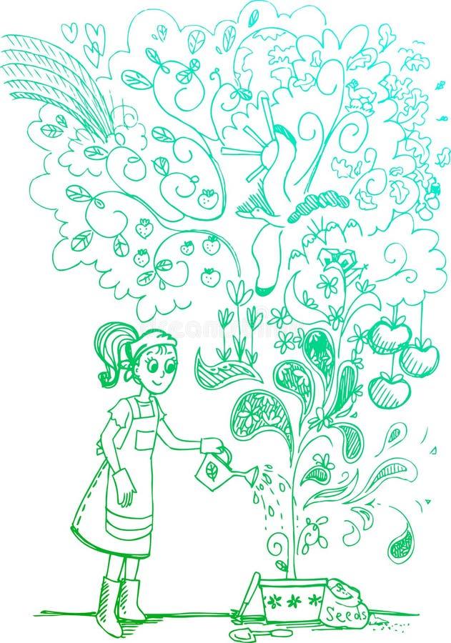 Crescimento espectacular, doodles esboçado ilustração royalty free